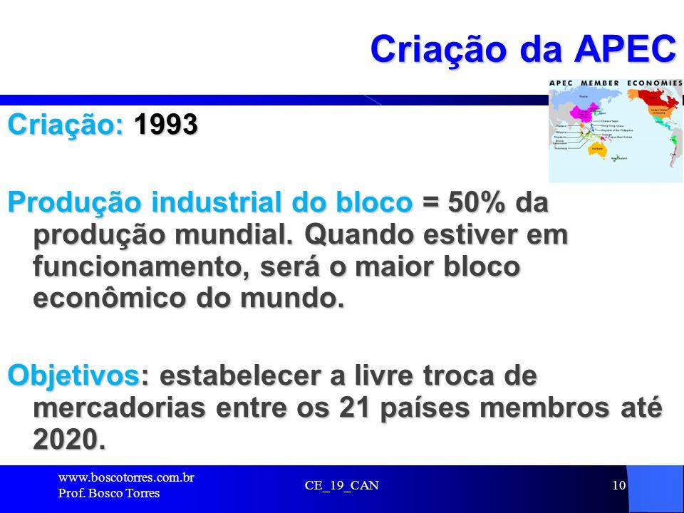 10 Criação da APEC Criação: 1993 Produção industrial do bloco = 50% da produção mundial. Quando estiver em funcionamento, será o maior bloco econômico