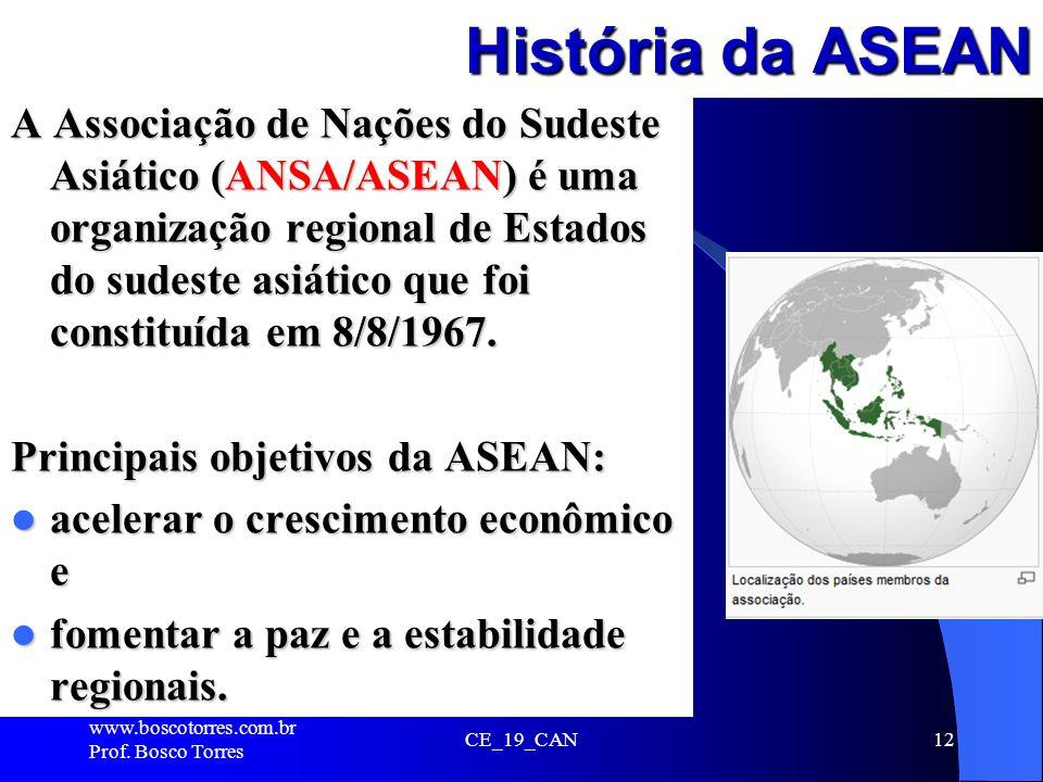 História da ASEAN A Associação de Nações do Sudeste Asiático (ANSA/ASEAN) é uma organização regional de Estados do sudeste asiático que foi constituíd