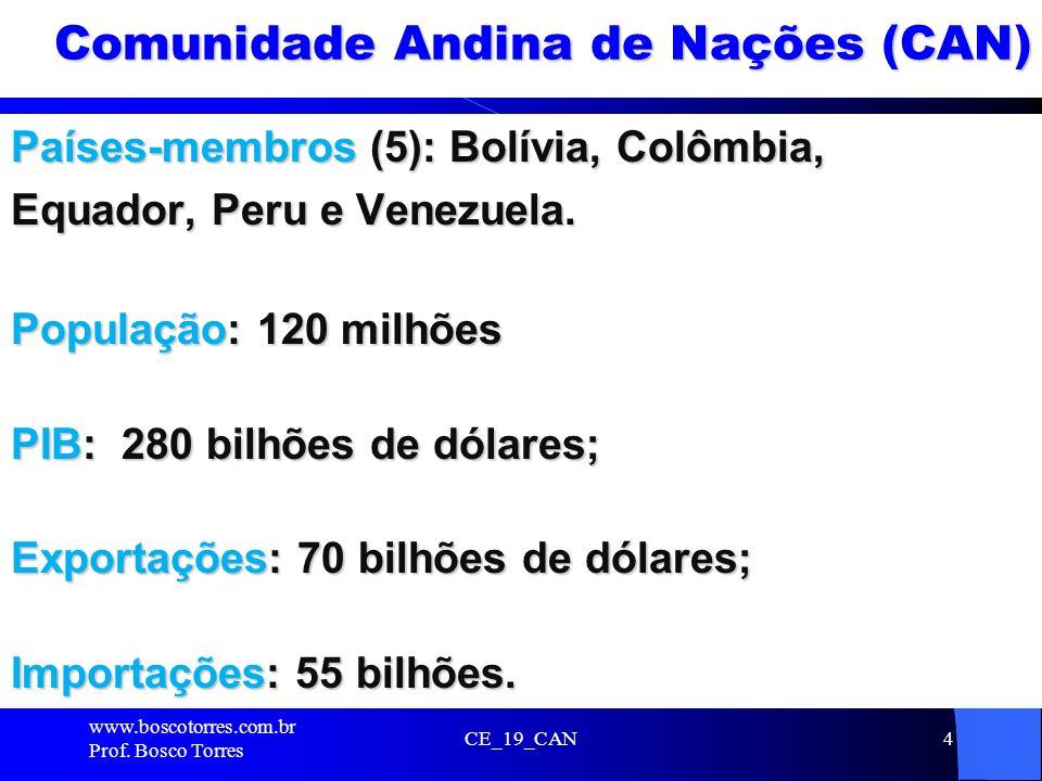 4 Comunidade Andina de Nações (CAN) Países-membros (5): Bolívia, Colômbia, Equador, Peru e Venezuela. População: 120 milhões PIB: 280 bilhões de dólar