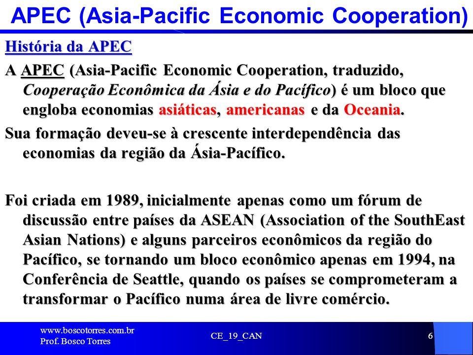 APEC (Asia-Pacific Economic Cooperation) História da APEC A APEC (Asia-Pacific Economic Cooperation, traduzido, Cooperação Econômica da Ásia e do Pací