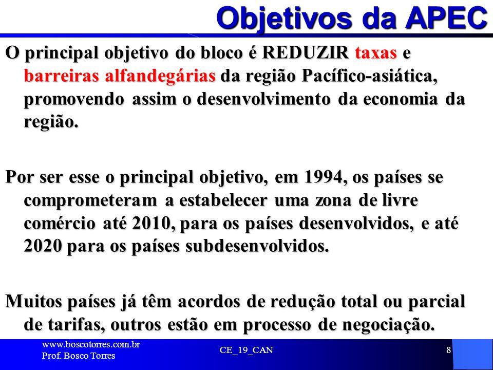 Objetivos da APEC O principal objetivo do bloco é REDUZIR taxas e barreiras alfandegárias da região Pacífico-asiática, promovendo assim o desenvolvime