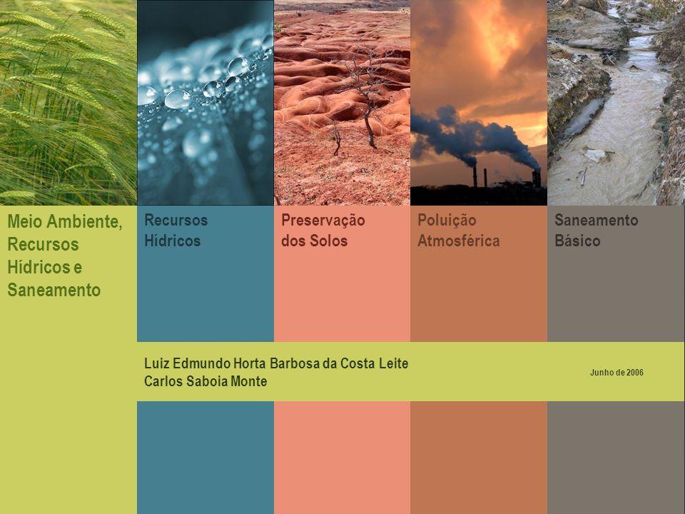 Preservação dos Solos Poluição Atmosférica Saneamento Básico Recursos Hídricos Meio Ambiente, Recursos Hídricos e Saneamento Luiz Edmundo Horta Barbos