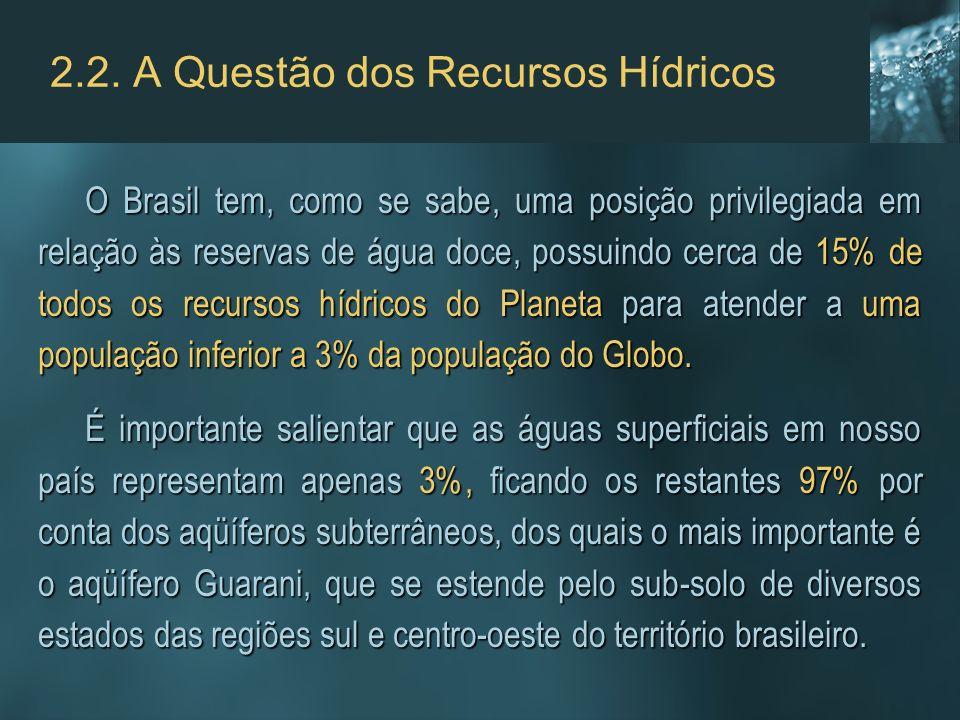 2.2. A Questão dos Recursos Hídricos O Brasil tem, como se sabe, uma posição privilegiada em relação às reservas de água doce, possuindo cerca de 15%