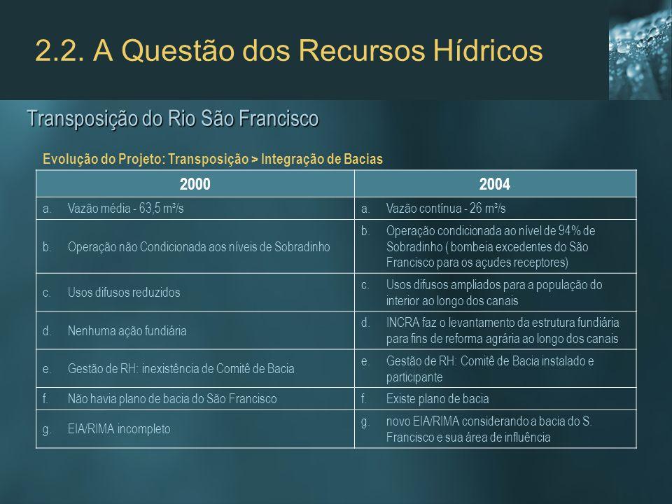 2.2. A Questão dos Recursos Hídricos 20002004 a.Vazão média - 63,5 m³/sa.Vazão contínua - 26 m³/s b.Operação não Condicionada aos níveis de Sobradinho