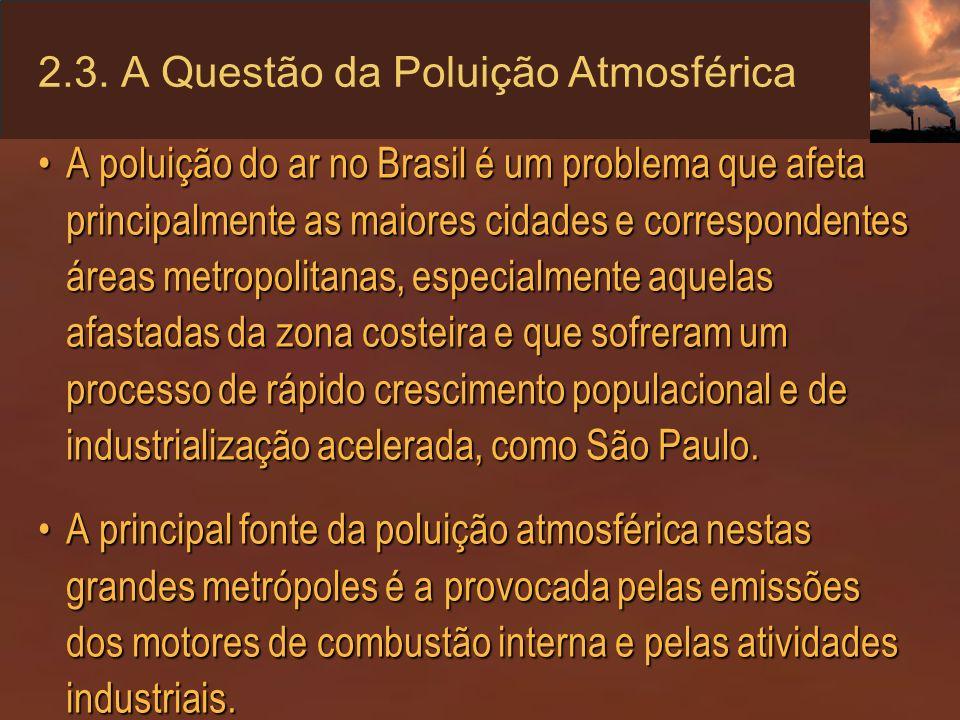 2.3. A Questão da Poluição Atmosférica A poluição do ar no Brasil é um problema que afeta principalmente as maiores cidades e correspondentes áreas me