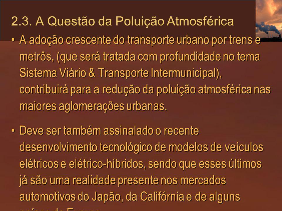 2.3. A Questão da Poluição Atmosférica A adoção crescente do transporte urbano por trens e metrôs, (que será tratada com profundidade no tema Sistema