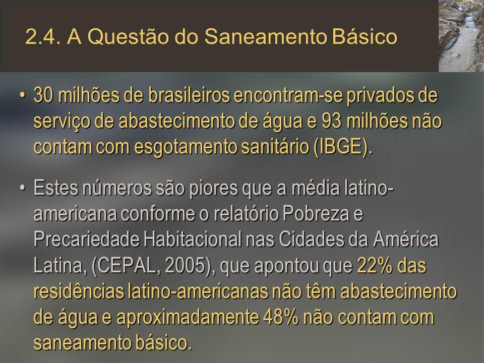 2.4. A Questão do Saneamento Básico 30 milhões de brasileiros encontram-se privados de serviço de abastecimento de água e 93 milhões não contam com es