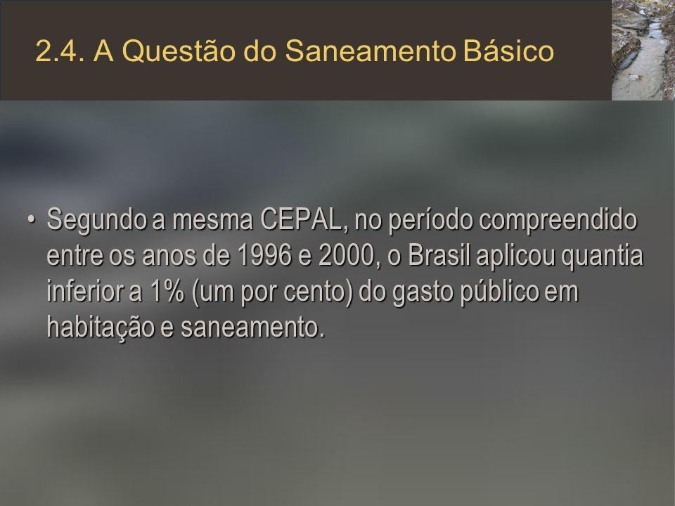 2.4. A Questão do Saneamento Básico Segundo a mesma CEPAL, no período compreendido entre os anos de 1996 e 2000, o Brasil aplicou quantia inferior a 1
