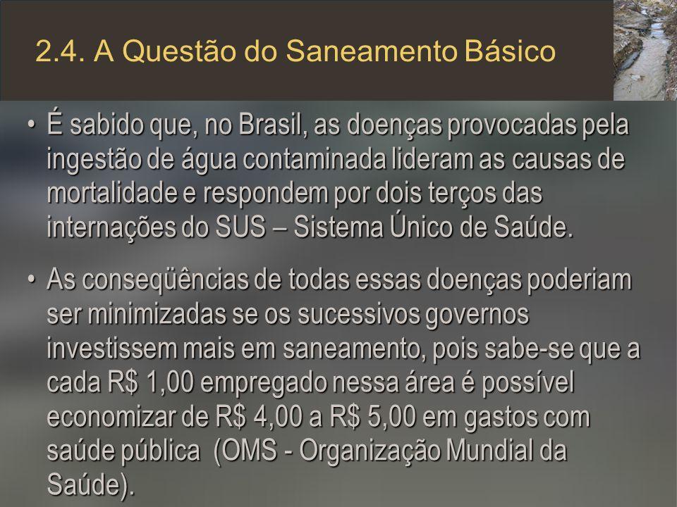 2.4. A Questão do Saneamento Básico É sabido que, no Brasil, as doenças provocadas pela ingestão de água contaminada lideram as causas de mortalidade
