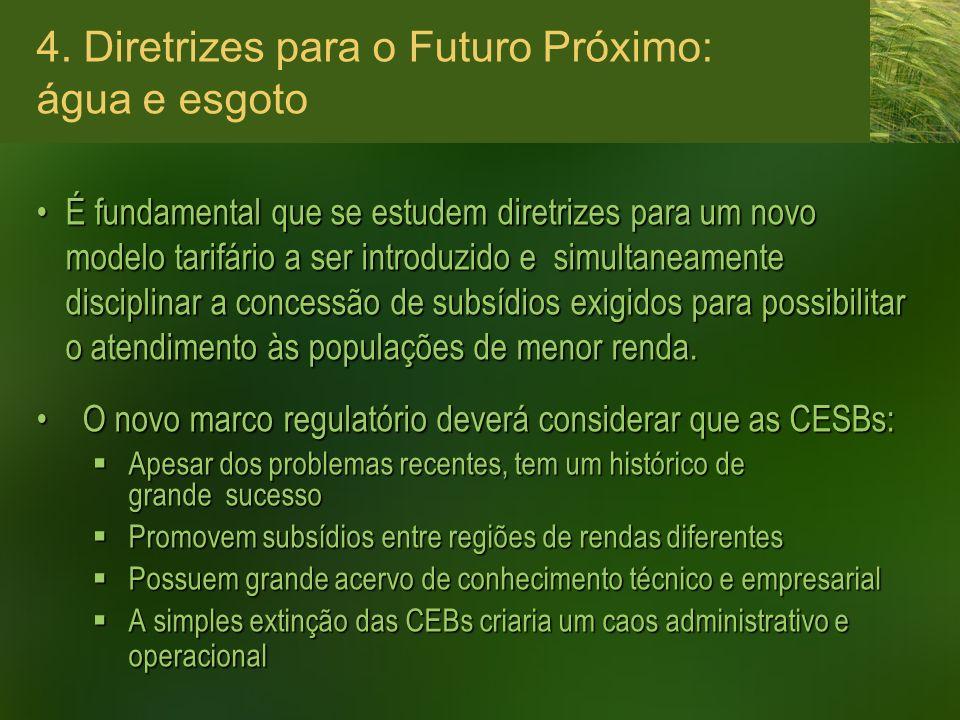 4. Diretrizes para o Futuro Próximo: água e esgoto É fundamental que se estudem diretrizes para um novo modelo tarifário a ser introduzido e simultane