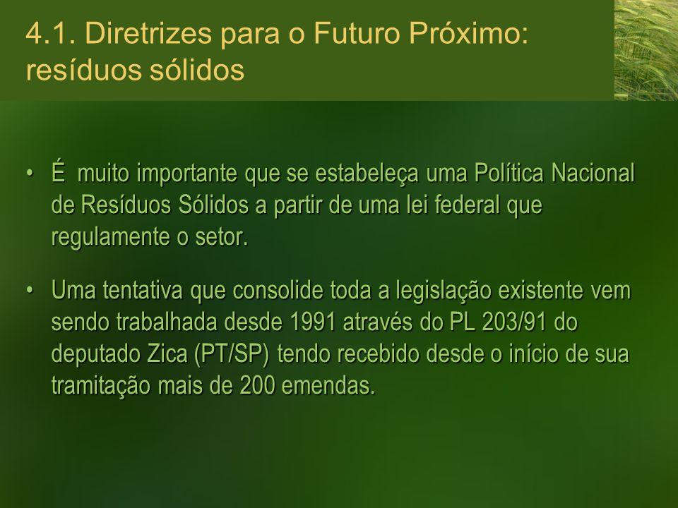 4.1. Diretrizes para o Futuro Próximo: resíduos sólidos É muito importante que se estabeleça uma Política Nacional de Resíduos Sólidos a partir de uma
