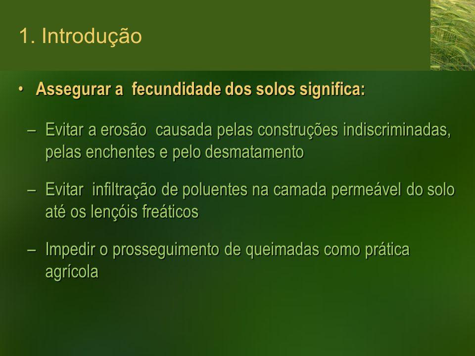 1. Introdução Assegurar a fecundidade dos solos significa: Assegurar a fecundidade dos solos significa: –Evitar a erosão causada pelas construções ind