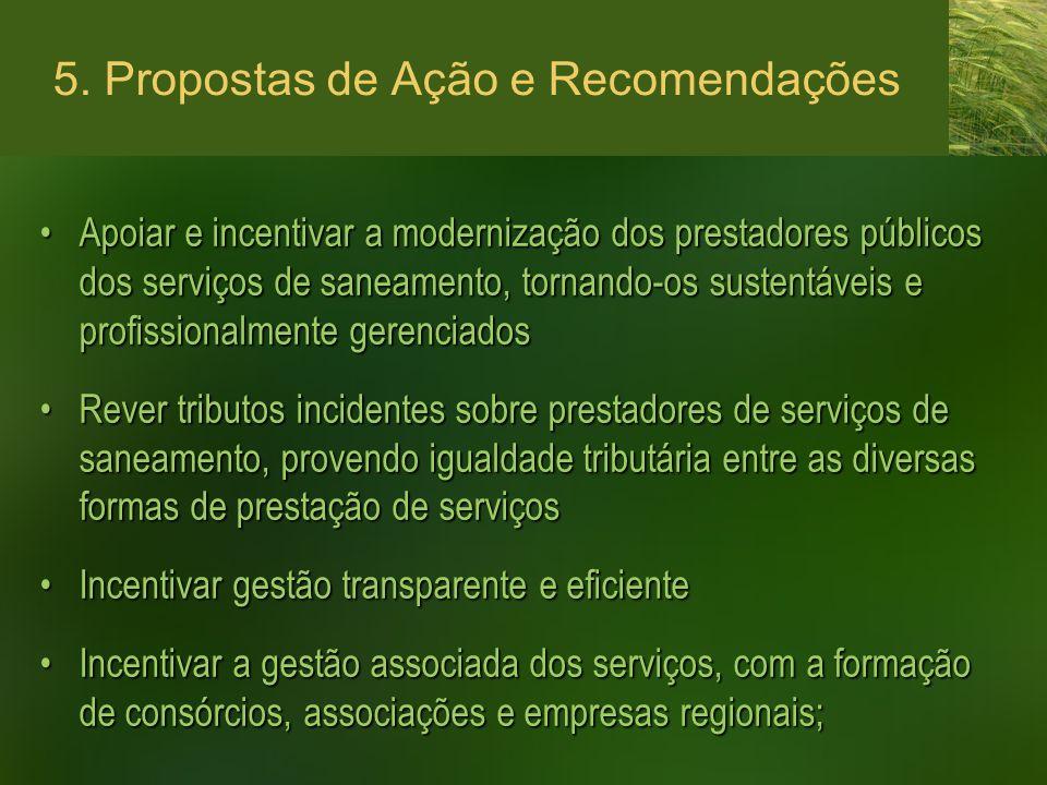 5. Propostas de Ação e Recomendações Apoiar e incentivar a modernização dos prestadores públicos dos serviços de saneamento, tornando-os sustentáveis