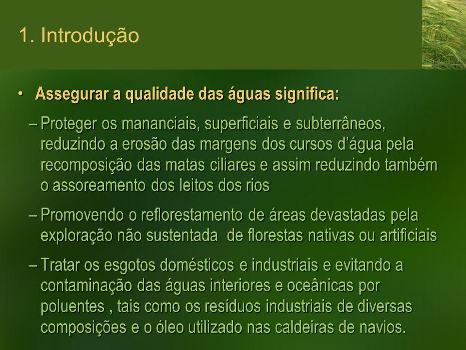 1. Introdução Assegurar a qualidade das águas significa: Assegurar a qualidade das águas significa: –Proteger os mananciais, superficiais e subterrâne