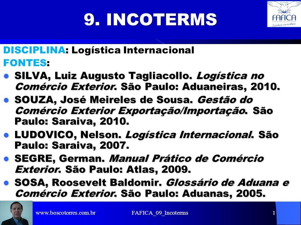 FAFICA_09_Incoterms1 9. INCOTERMS DISCIPLINA: Logística Internacional FONTES: SILVA, Luiz Augusto Tagliacollo. Logística no Comércio Exterior. São Pau