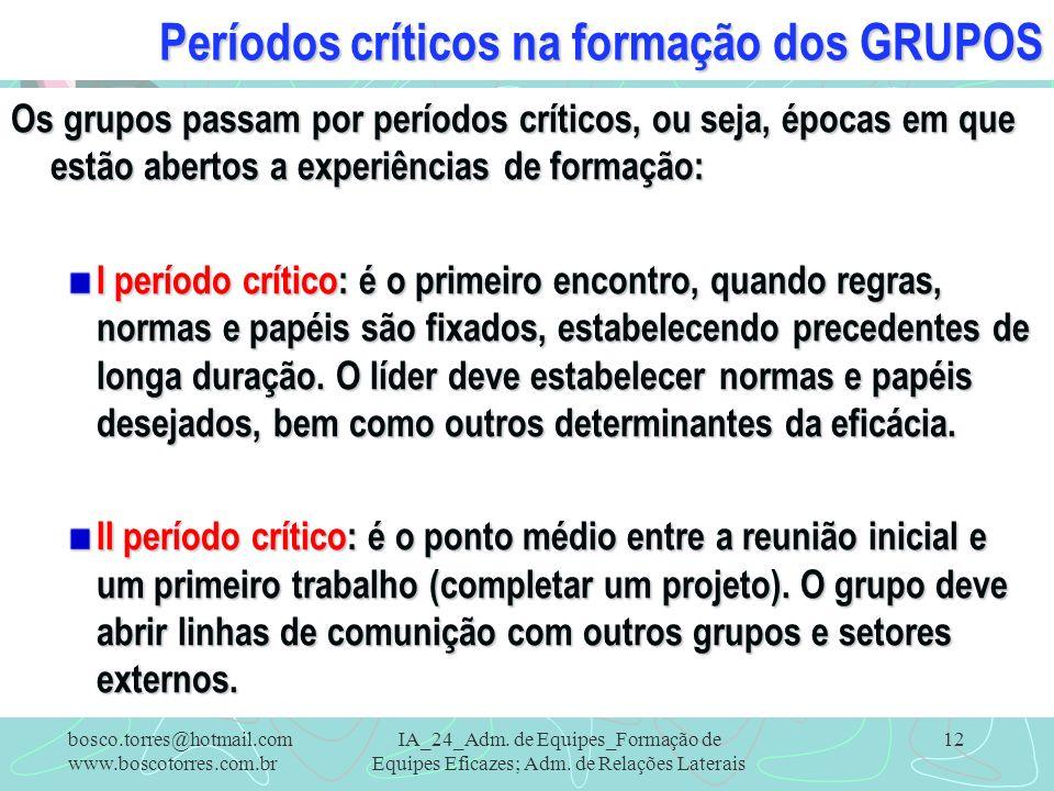 Períodos críticos na formação dos GRUPOS Os grupos passam por períodos críticos, ou seja, épocas em que estão abertos a experiências de formação: I pe