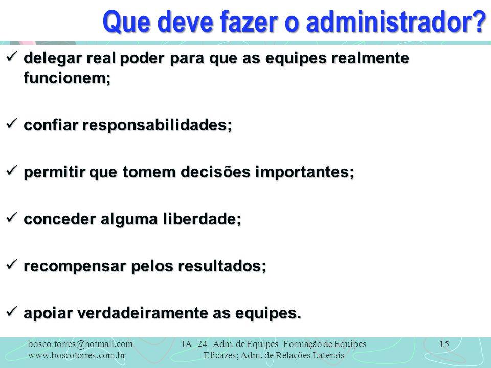 Que deve fazer o administrador? delegar real poder para que as equipes realmente funcionem; delegar real poder para que as equipes realmente funcionem