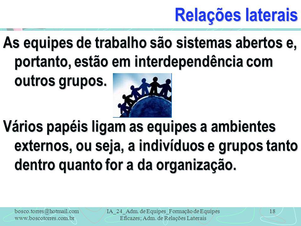 Relações laterais As equipes de trabalho são sistemas abertos e, portanto, estão em interdependência com outros grupos. Vários papéis ligam as equipes