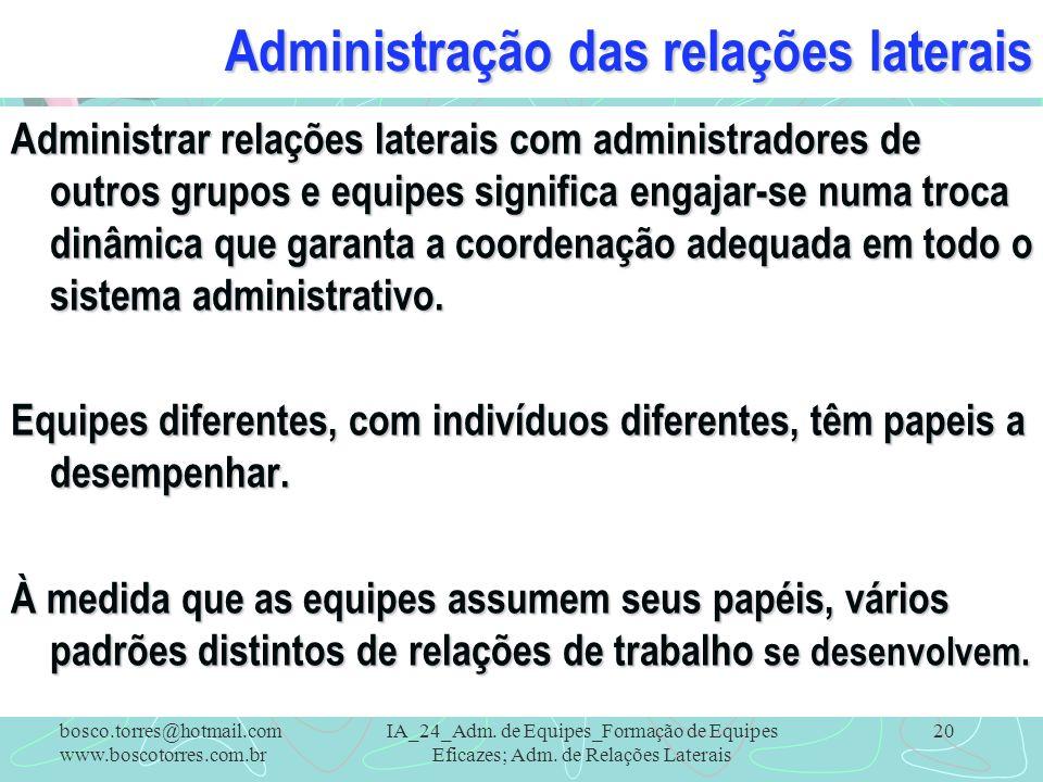 Administração das relações laterais Administrar relações laterais com administradores de outros grupos e equipes significa engajar-se numa troca dinâm