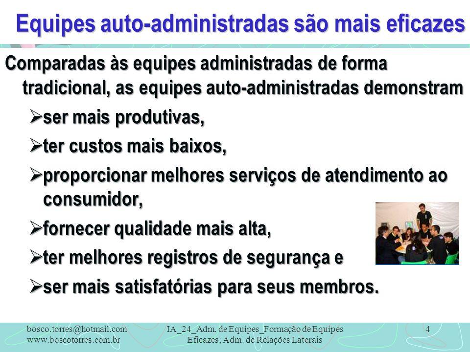 Equipes auto-administradas são mais eficazes Comparadas às equipes administradas de forma tradicional, as equipes auto-administradas demonstram ser ma
