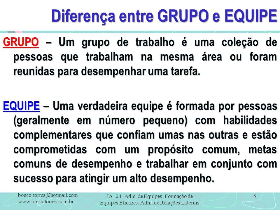 Diferença entre GRUPO e EQUIPE GRUPO – Um grupo de trabalho é uma coleção de pessoas que trabalham na mesma área ou foram reunidas para desempenhar um