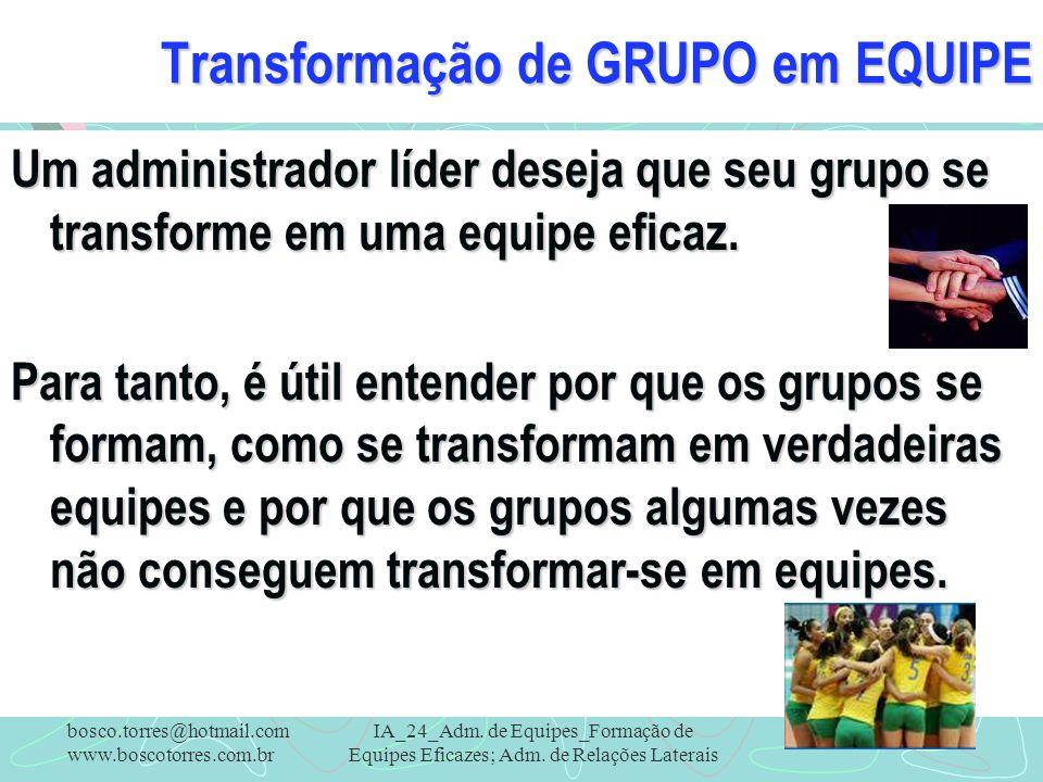 Transformação de GRUPO em EQUIPE Um administrador líder deseja que seu grupo se transforme em uma equipe eficaz. Para tanto, é útil entender por que o
