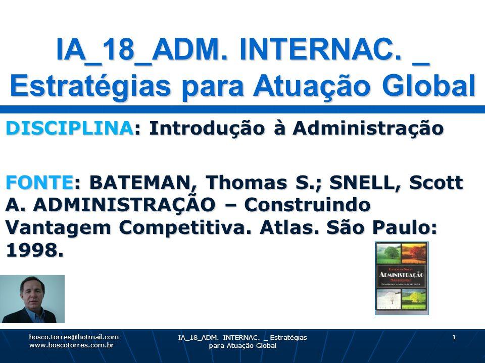 IA_18_ADM. INTERNAC. _ Estratégias para Atuação Global 1 DISCIPLINA: Introdução à Administração FONTE: BATEMAN, Thomas S.; SNELL, Scott A. ADMINISTRAÇ