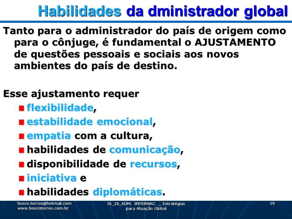Habilidades da dministrador global Habilidades da dministrador global Tanto para o administrador do país de origem como para o cônjuge, é fundamental