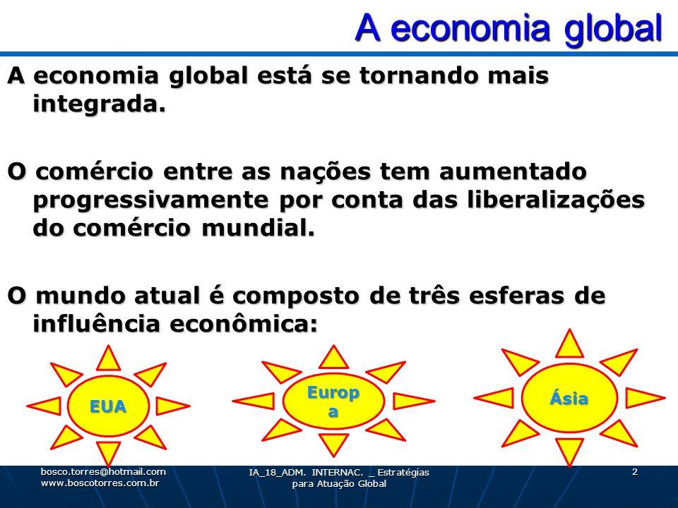 A economia global A economia global A economia global está se tornando mais integrada. O comércio entre as nações tem aumentado progressivamente por c