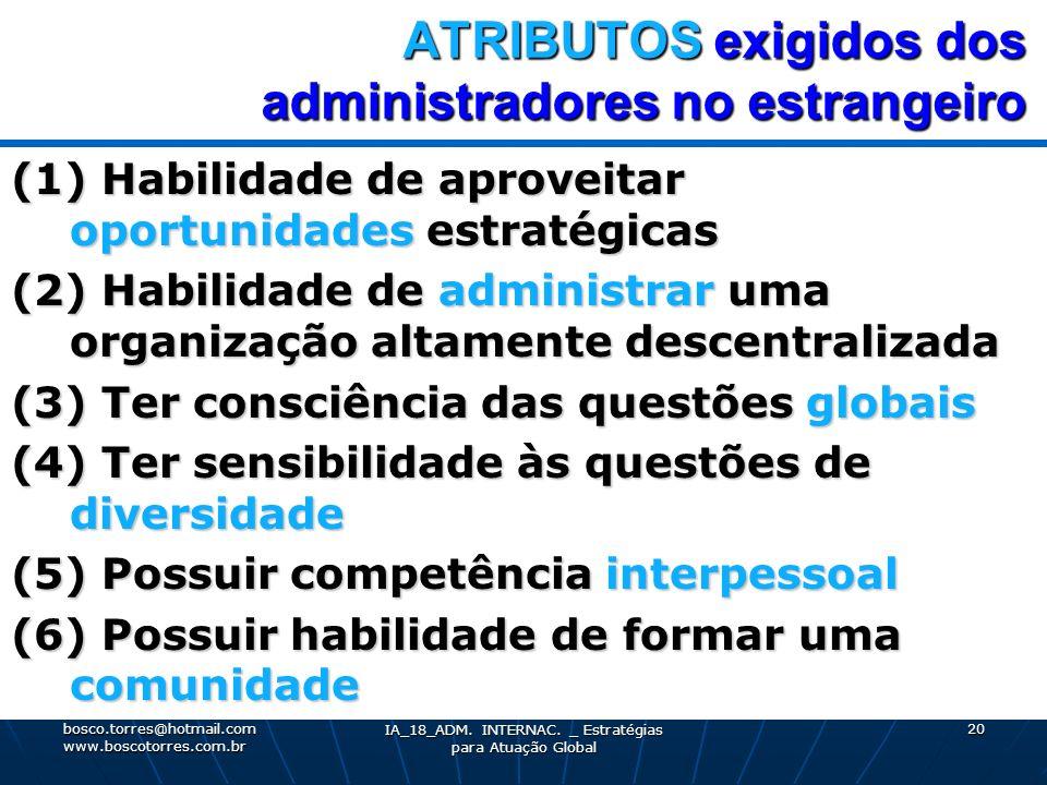 ATRIBUTOS exigidos dos administradores no estrangeiro (1) Habilidade de aproveitar oportunidades estratégicas (2) Habilidade de administrar uma organi