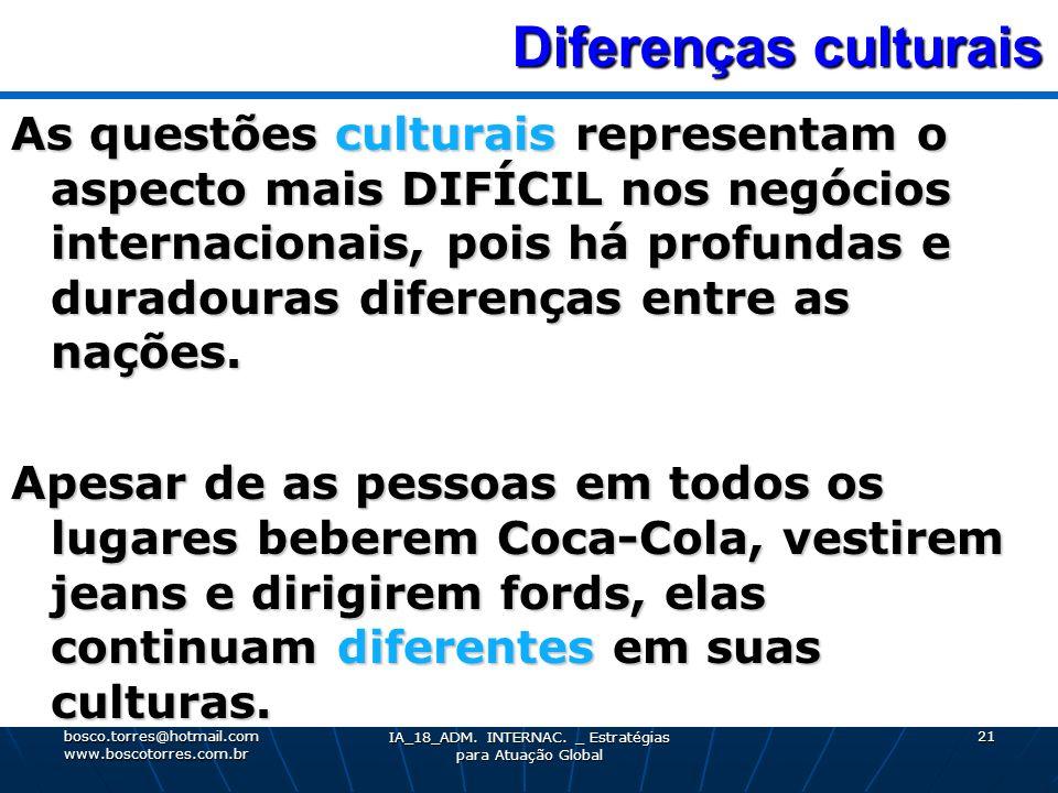 Diferenças culturais Diferenças culturais As questões culturais representam o aspecto mais DIFÍCIL nos negócios internacionais, pois há profundas e du