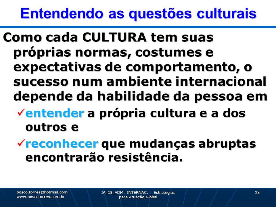 Entendendo as questões culturais Como cada CULTURA tem suas próprias normas, costumes e expectativas de comportamento, o sucesso num ambiente internac