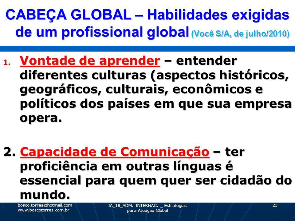 CABEÇA GLOBAL – Habilidades exigidas de um profissional global (Você S/A, de julho/2010) 1. Vontade de aprender – entender diferentes culturas (aspect