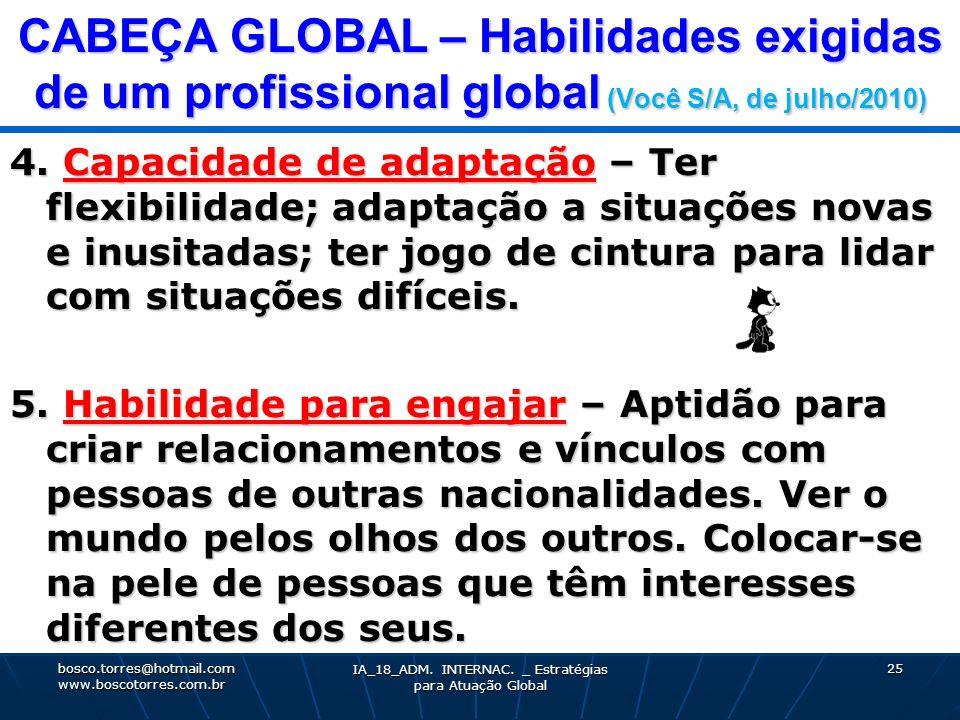 CABEÇA GLOBAL – Habilidades exigidas de um profissional global (Você S/A, de julho/2010) 4. Capacidade de adaptação – Ter flexibilidade; adaptação a s