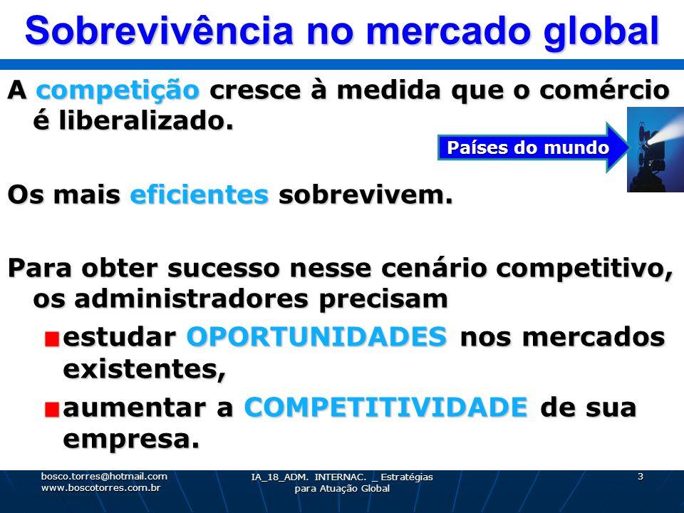Sobrevivência no mercado global A competição cresce à medida que o comércio é liberalizado. Os mais eficientes sobrevivem. Para obter sucesso nesse ce