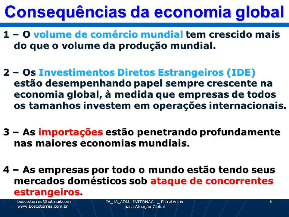 Consequências da economia global 1 – O volume de comércio mundial tem crescido mais do que o volume da produção mundial. 2 – Os Investimentos Diretos