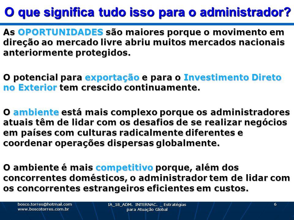 O que significa tudo isso para o administrador? As OPORTUNIDADES são maiores porque o movimento em direção ao mercado livre abriu muitos mercados naci