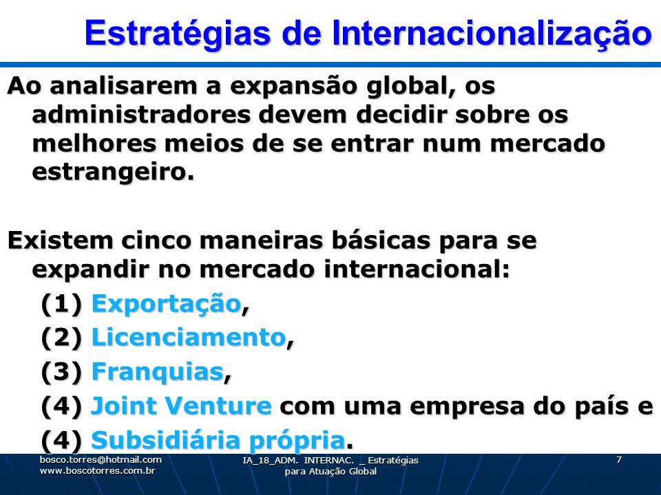 Estratégias de Internacionalização Estratégias de Internacionalização Ao analisarem a expansão global, os administradores devem decidir sobre os melho