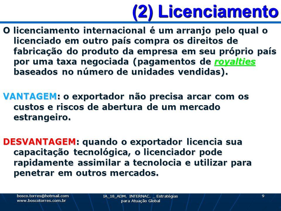 (2) Licenciamento (2) Licenciamento O licenciamento internacional é um arranjo pelo qual o licenciado em outro país compra os direitos de fabricação d