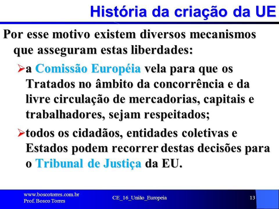 História da criação da UE Por esse motivo existem diversos mecanismos que asseguram estas liberdades: a Comissão Européia vela para que os Tratados no