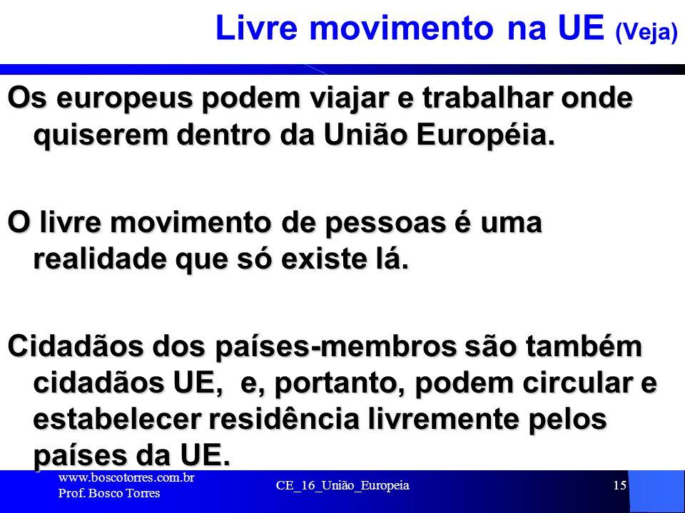 CE_16_União_Europeia15 Livre movimento na UE (Veja) Os europeus podem viajar e trabalhar onde quiserem dentro da União Européia. O livre movimento de