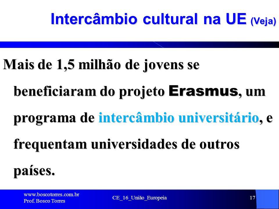 CE_16_União_Europeia17 Intercâmbio cultural na UE (Veja) Mais de 1,5 milhão de jovens se beneficiaram do projeto Erasmus, um programa de intercâmbio universitário, e frequentam universidades de outros países.