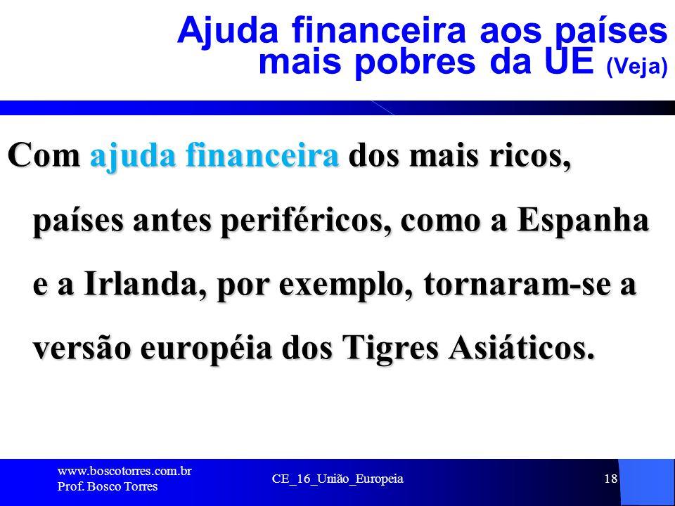 CE_16_União_Europeia18 Ajuda financeira aos países mais pobres da UE (Veja) Com ajuda financeira dos mais ricos, países antes periféricos, como a Espanha e a Irlanda, por exemplo, tornaram-se a versão européia dos Tigres Asiáticos.
