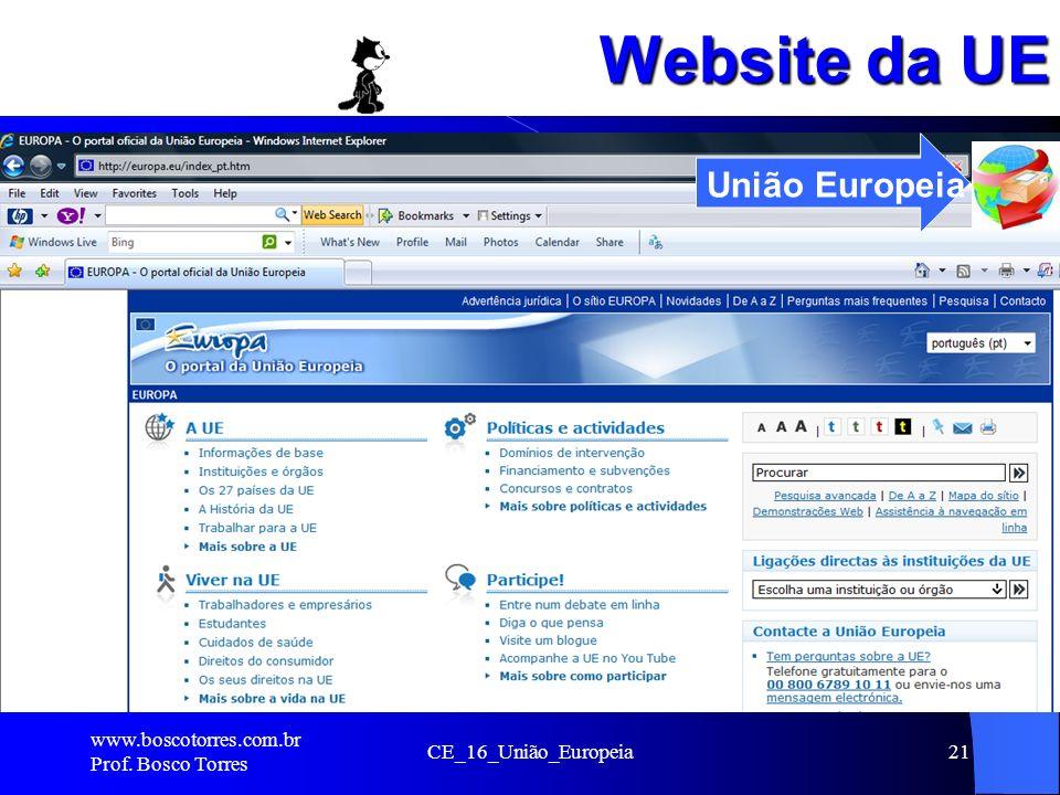 Website da UE www.boscotorres.com.br Prof. Bosco Torres CE_16_União_Europeia21 União Europeia