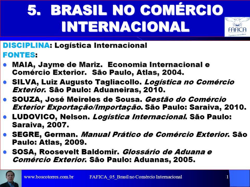 FAFICA_05_Brasil no Comércio Internacional1 5. BRASIL NO COMÉRCIO INTERNACIONAL DISCIPLINA: Logística Internacional FONTES: MAIA, Jayme de Mariz. Econ