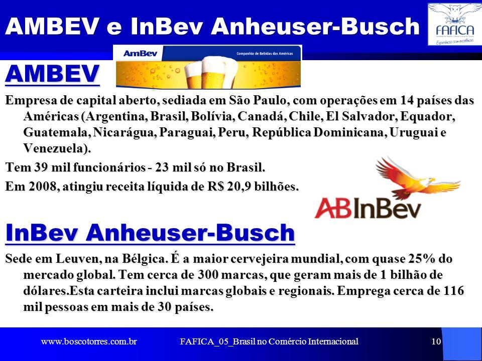 10 AMBEV e InBev Anheuser-Busch AMBEV Empresa de capital aberto, sediada em São Paulo, com operações em 14 países das Américas (Argentina, Brasil, Bol