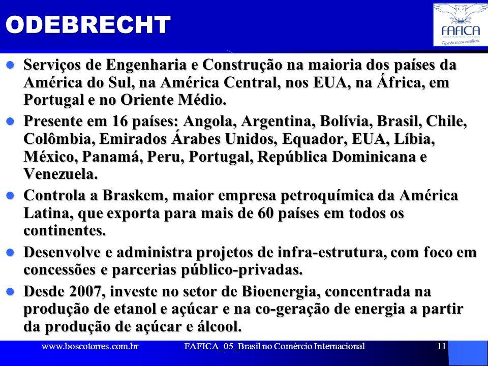 ODEBRECHT Serviços de Engenharia e Construção na maioria dos países da América do Sul, na América Central, nos EUA, na África, em Portugal e no Orient