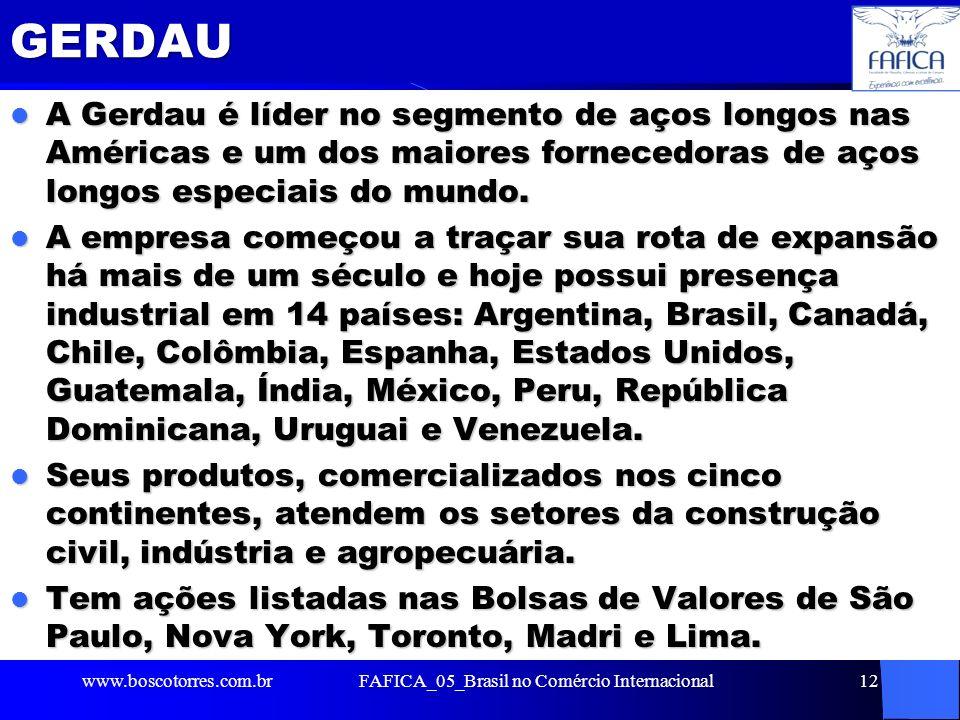 GERDAU A Gerdau é líder no segmento de aços longos nas Américas e um dos maiores fornecedoras de aços longos especiais do mundo. A Gerdau é líder no s
