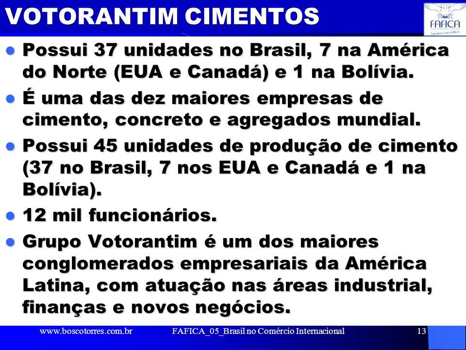 VOTORANTIM CIMENTOS Possui 37 unidades no Brasil, 7 na América do Norte (EUA e Canadá) e 1 na Bolívia. Possui 37 unidades no Brasil, 7 na América do N