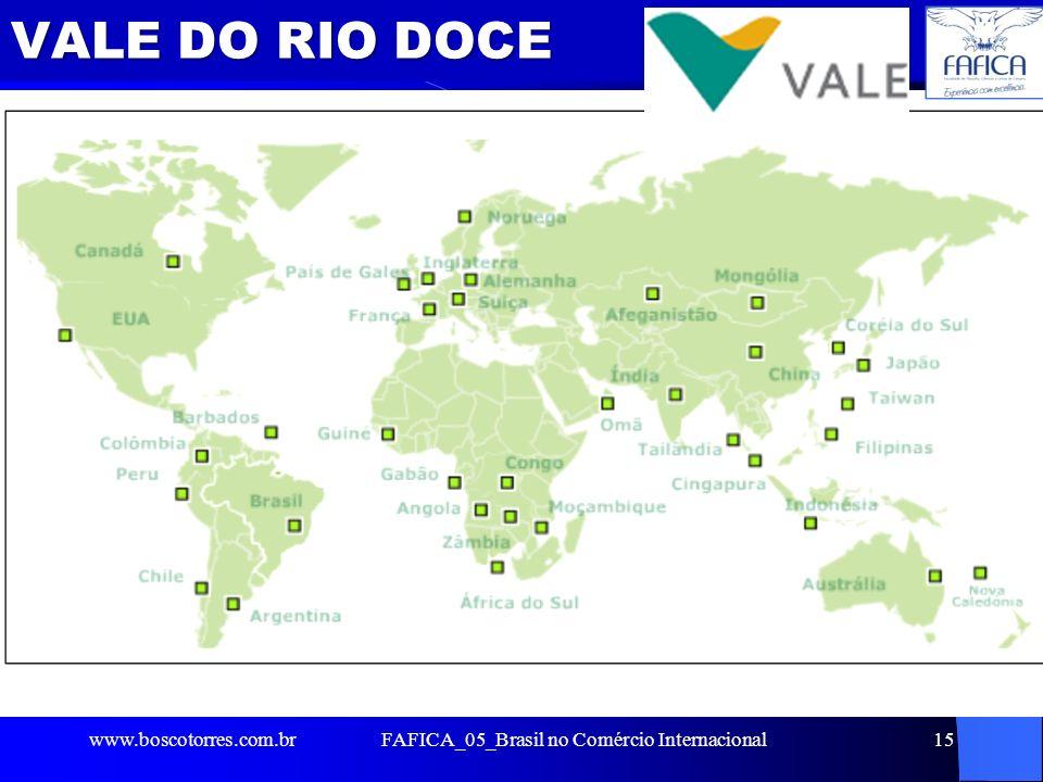 VALE DO RIO DOCE. www.boscotorres.com.brFAFICA_05_Brasil no Comércio Internacional15